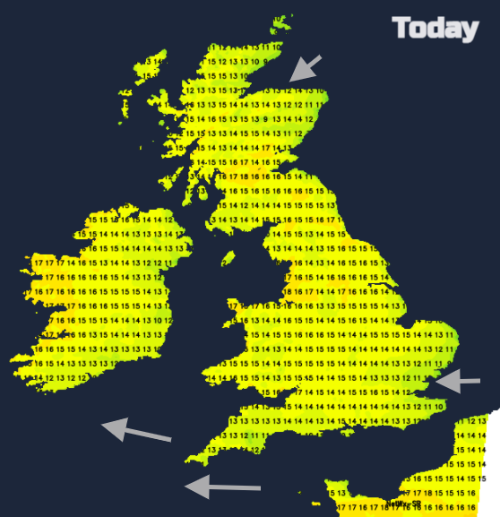 UK weather temperatures FRiday