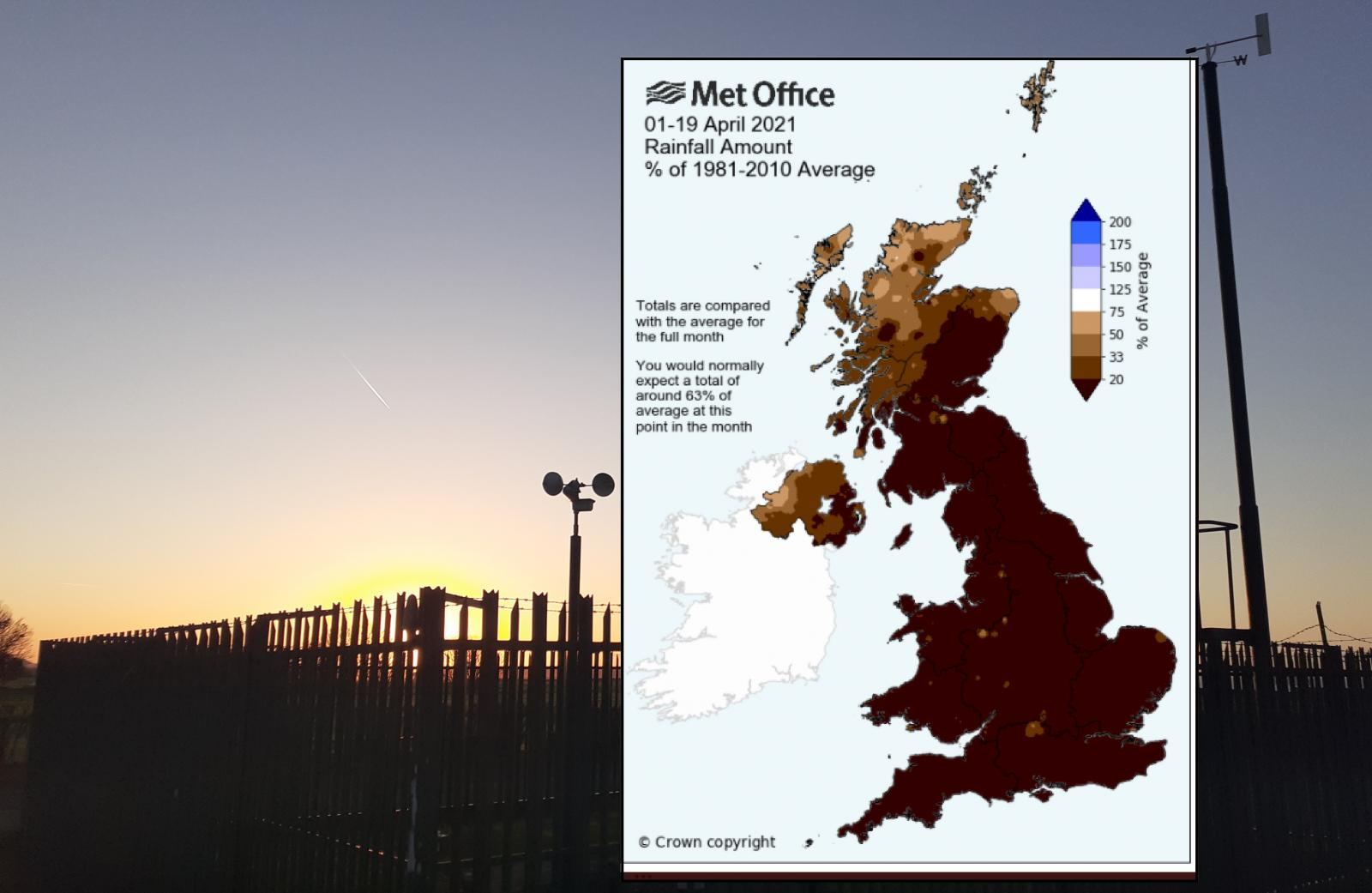 dry conditions in UK for April 2021