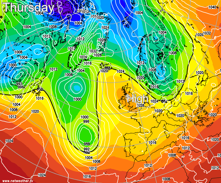 High pressure over the UK today
