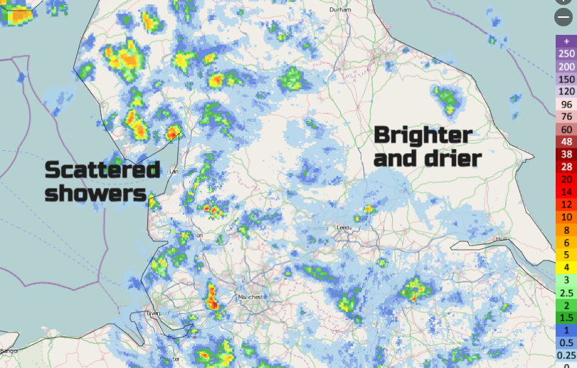 UK showers over Cumbrian Fells and Pennines, Yorkshire Dales