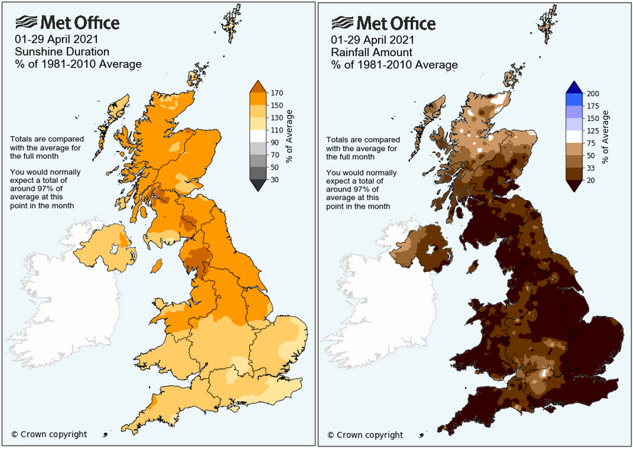 April 2021 UK sunshine and rainfall totals , very dry