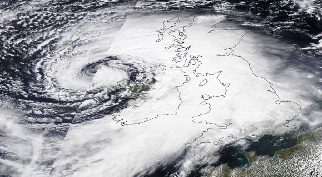 Satellite image of Bank Holiday low pressure