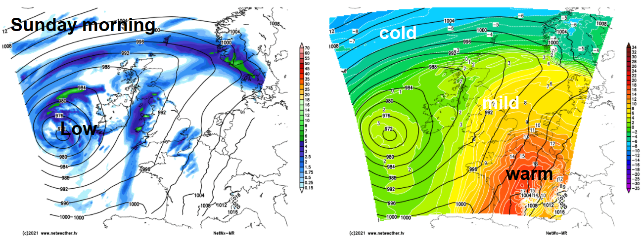 Sunday morning low pressure to the west of Ireland
