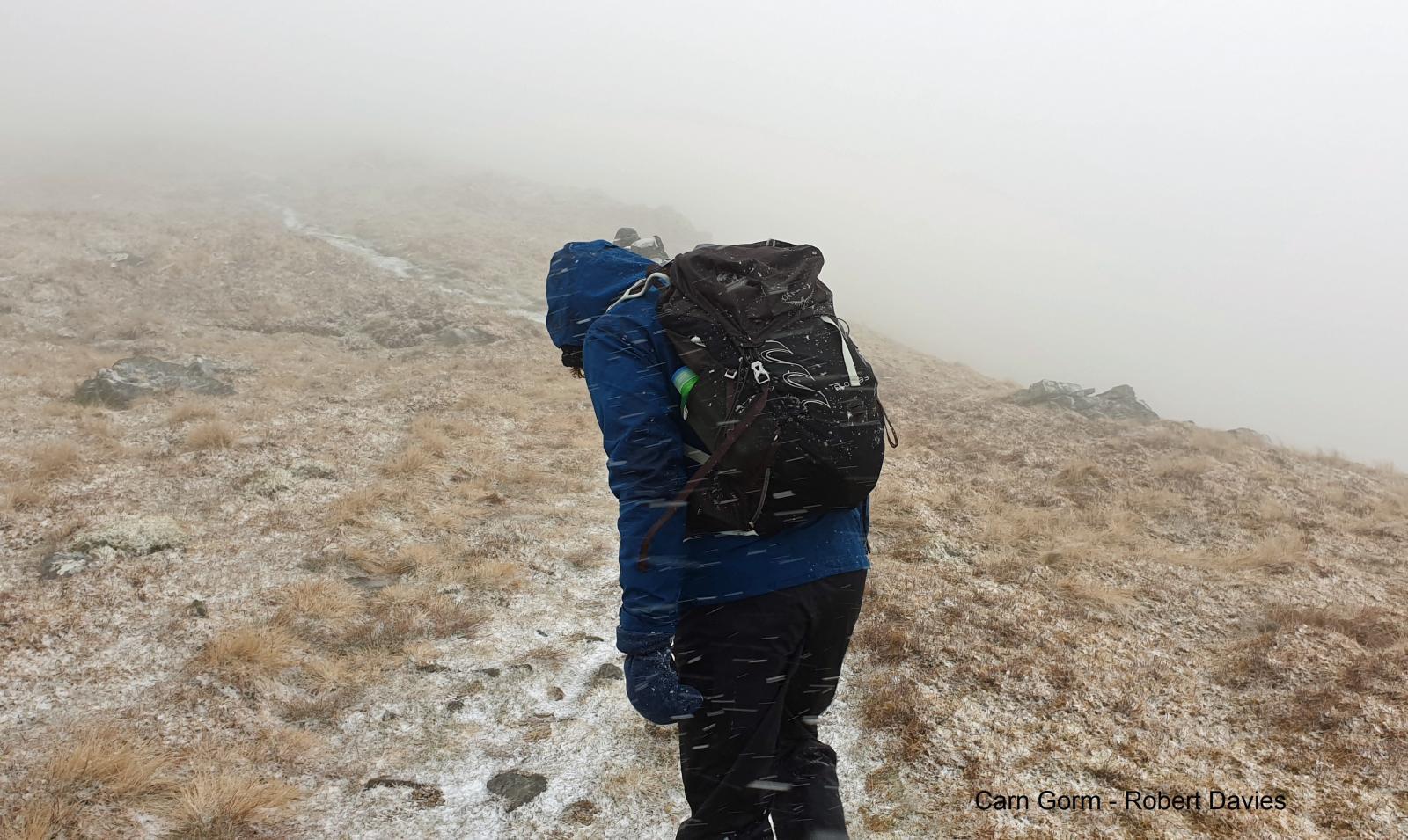 Walker in the snow Carn Gorm