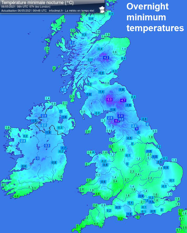 Minimum temperatures last night