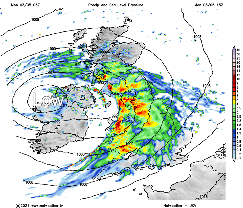 Low pressure on Monday bringing wind and rain