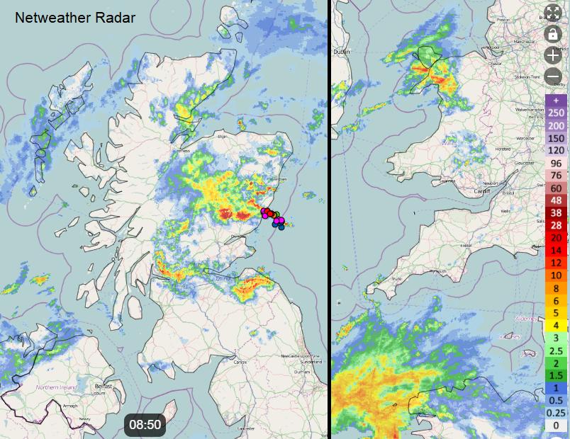 Thunderstorm and rain UK
