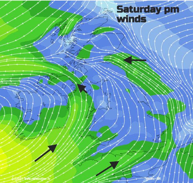 Wind speed and direction on Saturday evening