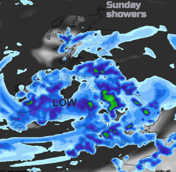More heavy showers on Sunday