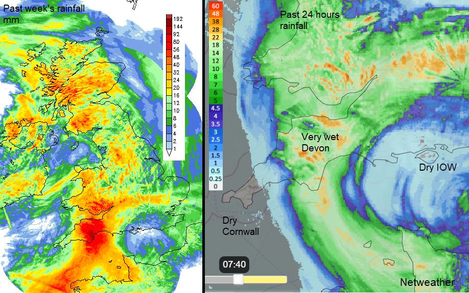 Heavy rain for Devon