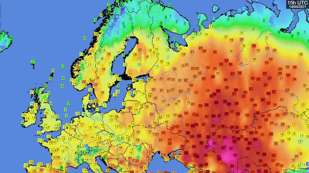 Temperatures over Europe