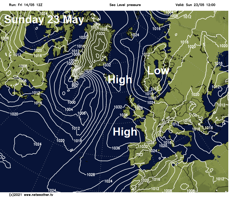 Pressure map for Sunday 23rd May