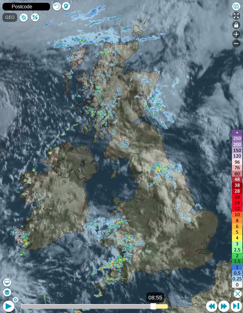 Rainfall radar from earlier today