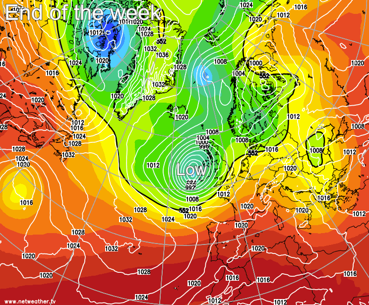 Deep low bringing wind and rain to end the week