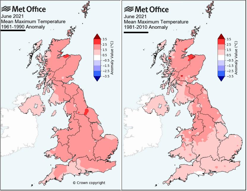 June UK 2021 warmer than average