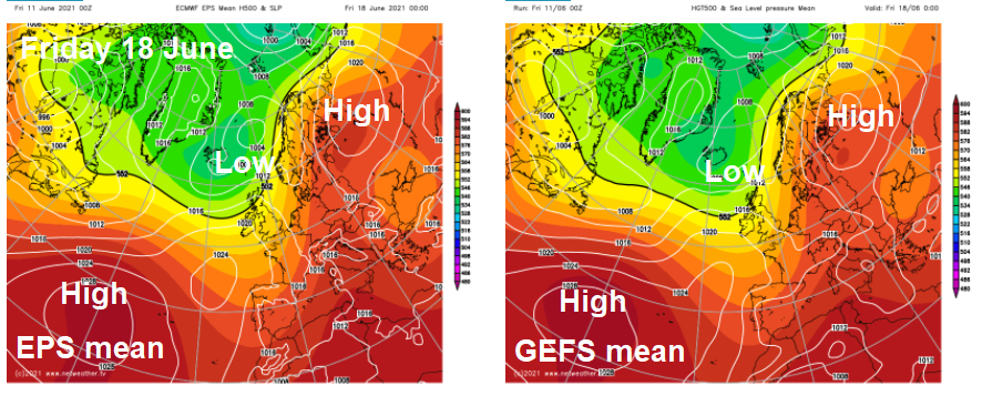 ECMWF and GFS ensemble means for Friday 18th June