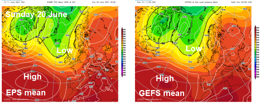 ECMWF and GFS means for Sunday 20th June