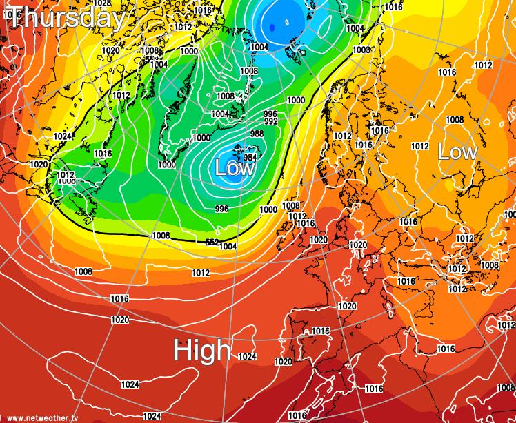 Pressure map for Thursday