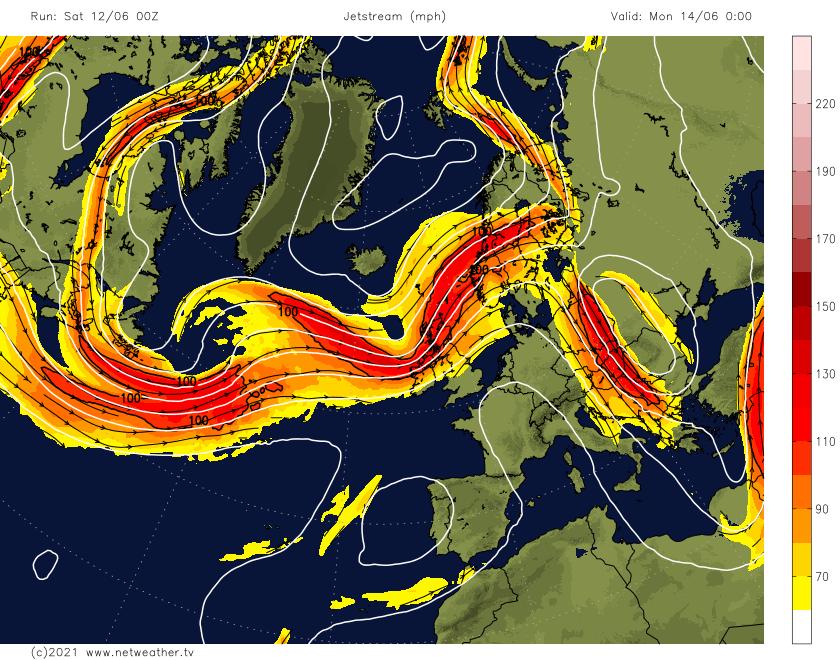 Strong jet stream across Scotland on Monday