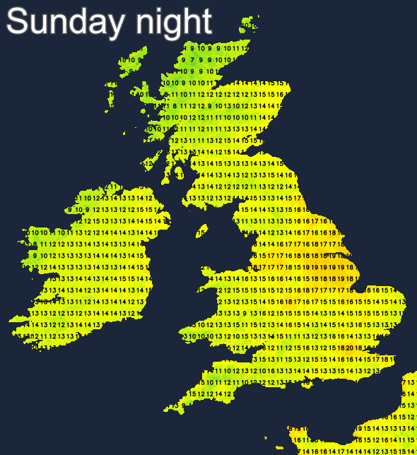 Temperatures on Sunday night and early hours of Monday