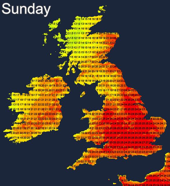 Sunday temperatures