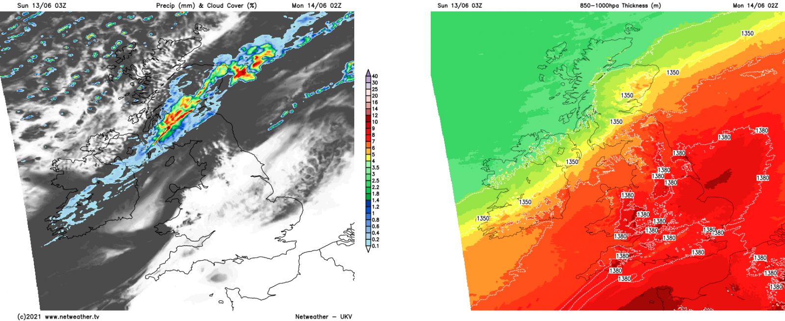 A weather front moving south overnight introducing cooler, fresher air behind it