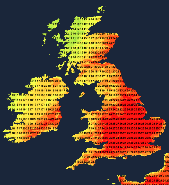 Temperatures into the high twenties on Sunday