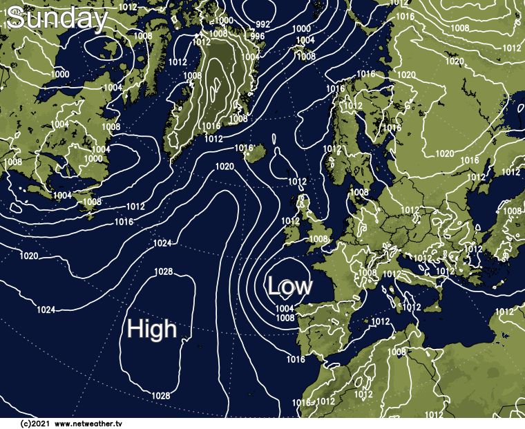High pressure closer to the northwest but low pressure near to the Bay of Biscay