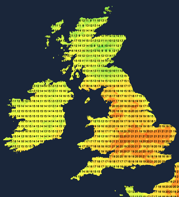 Temperatures on Saturday