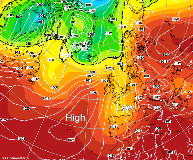 Azores high just to the west of the British Isles
