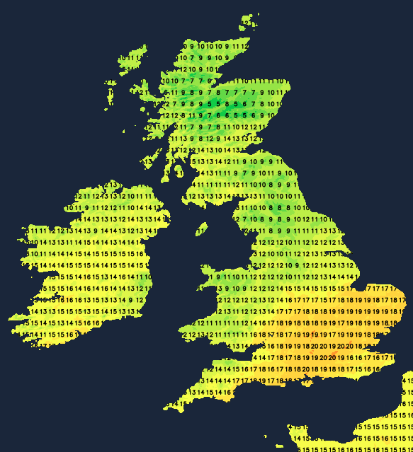 Temperatures on Friday