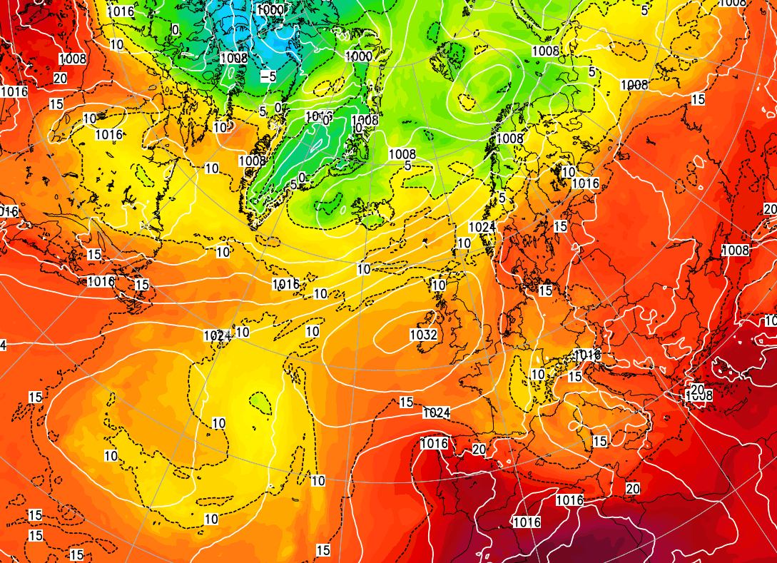 Azores High ridging towards the UK and bringing summer with it