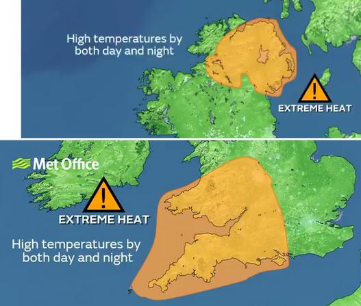 Met Office Extreme Heat warnings