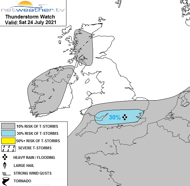 Storm forecast map for Saturday