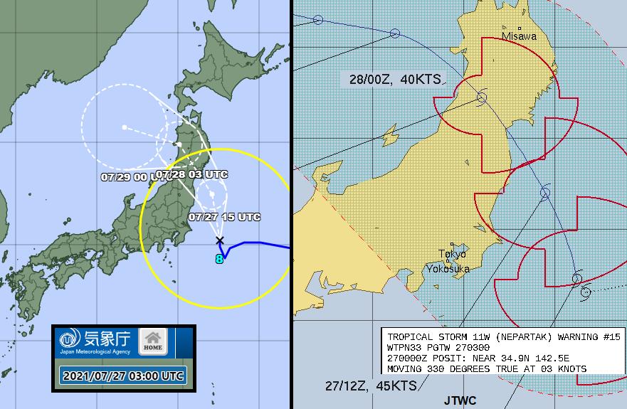 Typhoon Nepartak Tokyo2020 rain Japan path