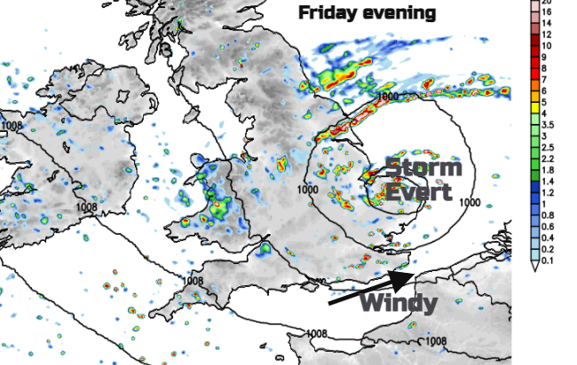 Storm Evert clearing East Anglia this evening
