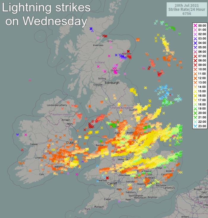 Lightning strikes detected on Wednesday
