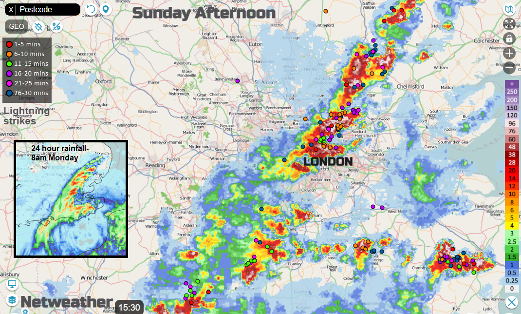 Thunderstorms leading to flooding Sunday 25th