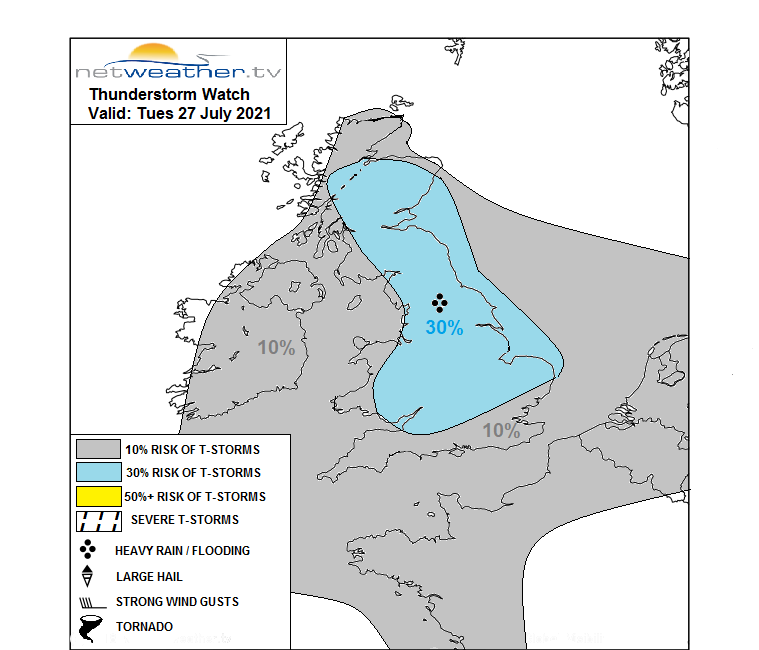 THUNDERSTORM WATCH - TUES 27 JULY 2021