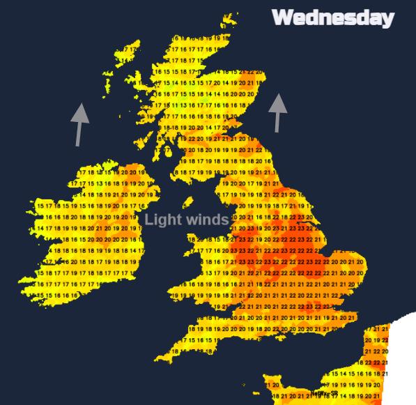 UK weather temperatures