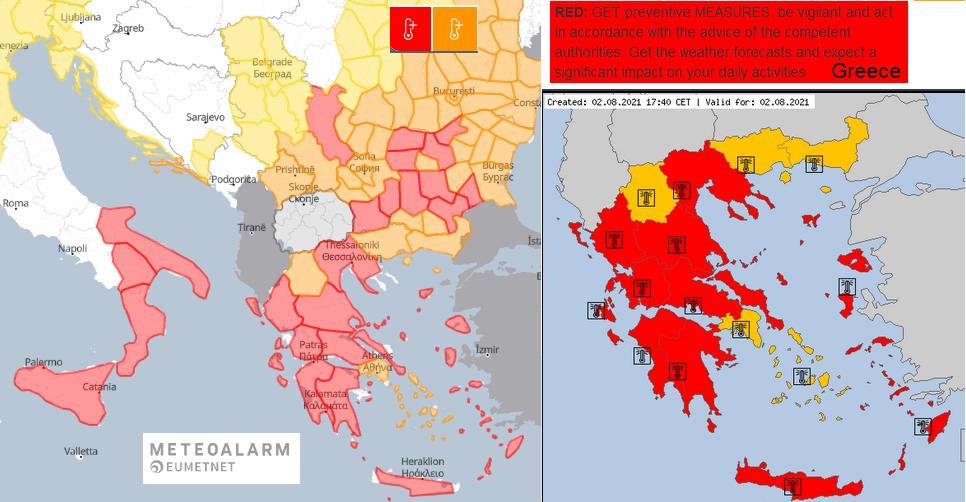 heatwave Meteoalarm Europe