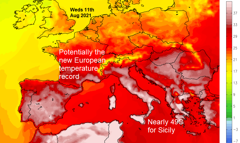Southern Europe heat heads to Spain as Sicily records over 48C