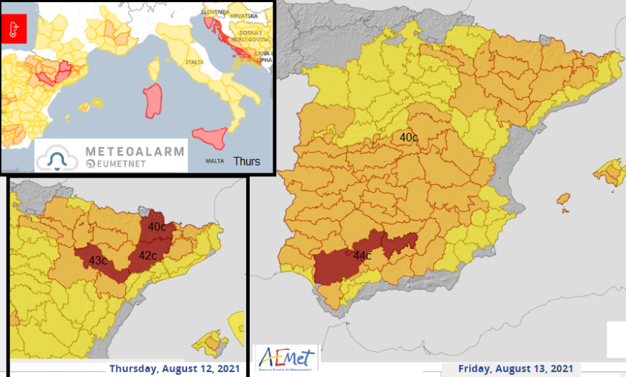 Heat temperature warnings Europe Spain