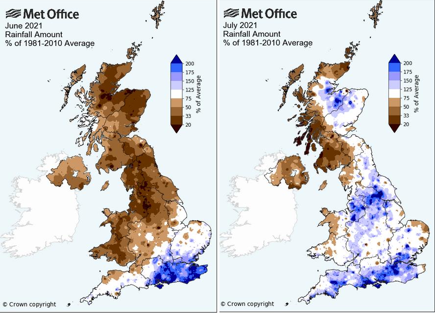 UK summer rainfall