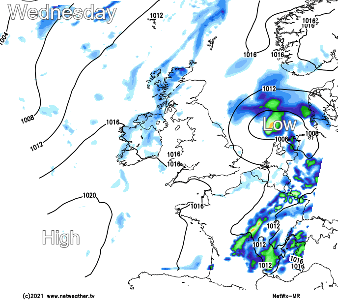 A weak ridge of high pressure on Wednesday