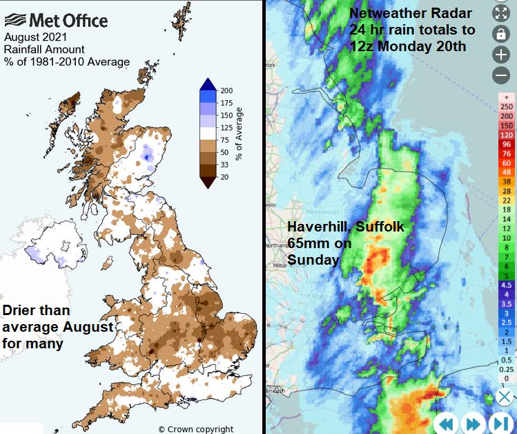 heavy rain Haverhill but dry august UK 2021