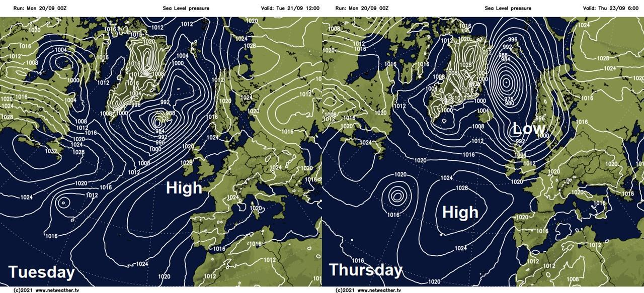 Changes in the pressure pattern this week
