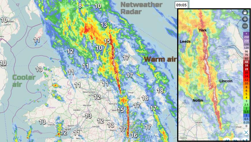 line convection tornado UK